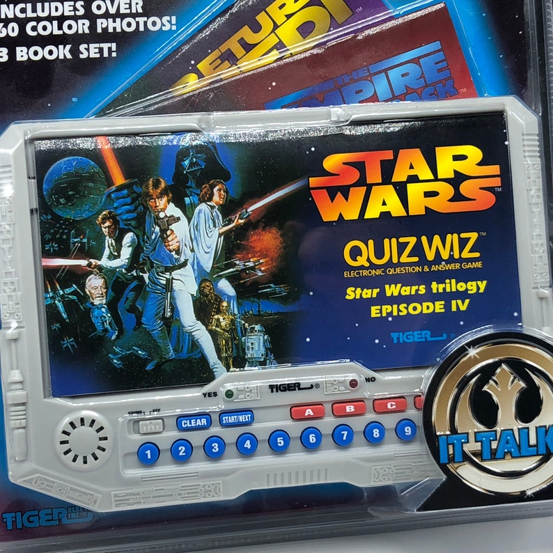 1997 STAR WARS ELECTRONIC handheld game Quiz wiz quizwiz Tiger toys new sealed trilogy new hope iv 3 book set question answer trivia solo