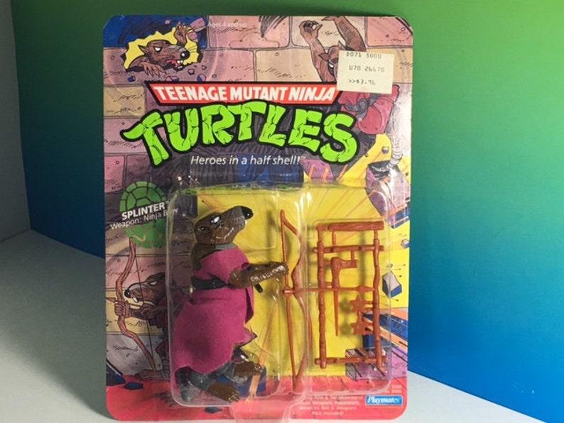 2eda460664722 VINTAGE TMNT SPLINTER rat master Teenage Mutant Ninja Turtles moc action  figure 1990 Playmates original rare toy bow sealed unopened