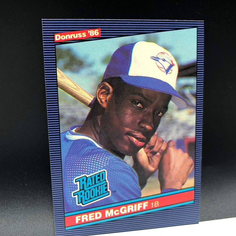 Vintage Baseball Card Rookie Rc 1986 Donruss Fred Mcgriff Crime Dog 28 Blue Jays Atlanta Braves 28 Near Mint