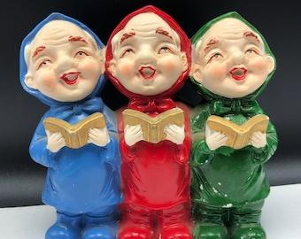 SANKYO MUSIC BOX vintage old men carolers red blue green elf elves gnome gold Christmas song book working figurine sculpture Japan statue