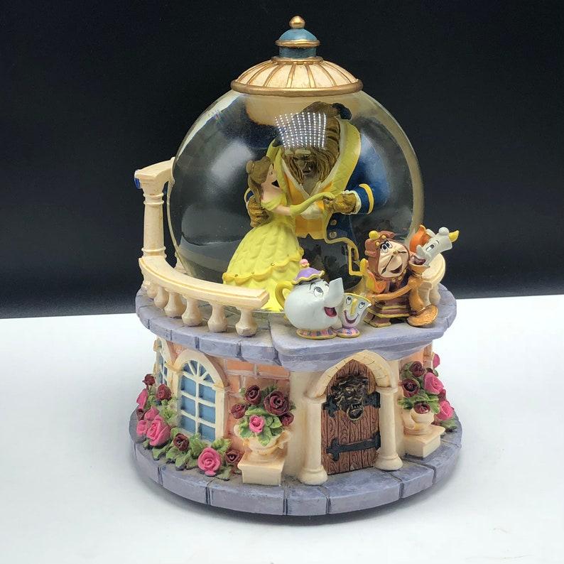 Walt Disney Snowglobe Vintage Snow Globe Snowdome Dome Water Ball Statue Sculpture Beauty And The Beast Lumiere Teapot Chip Belle Gazebo