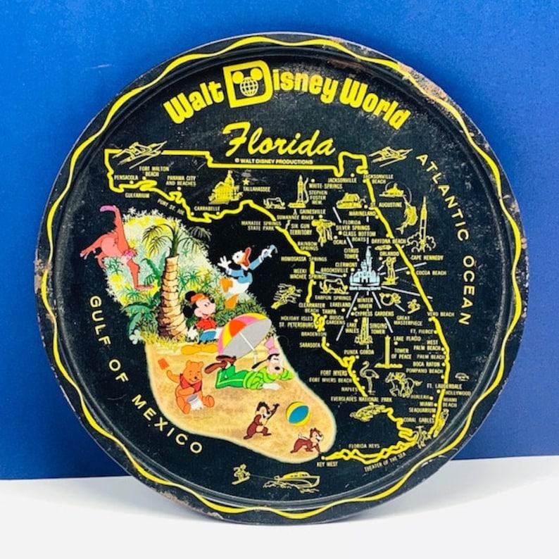 WALT DISNEY WORLD tray vintage theme park souvenir wall home decor mickey mouse donald duck goofy winnie pooh chip dale gulf mexico black