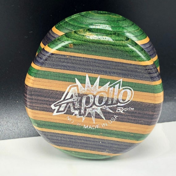 VINTAGE YOYO TOY collectible yo-yo usa made yo tournament high performance 1985 Apollo fine hard wood Bc rainbow striped purple green usa