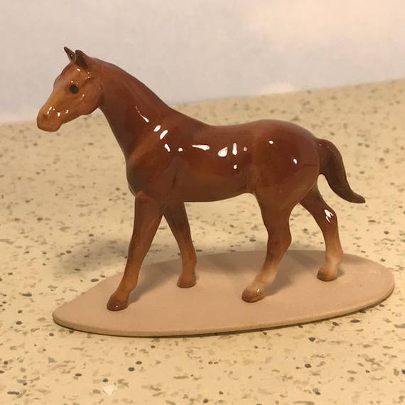 Vintage Ceramic Horse in Coat Model Figurine Handmade Miniature Collectible