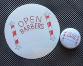 Open Barbers logo badge and sticker set