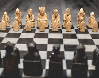 """Isle of Lewis Chess Set (Full Size Hand Made Replicas - 4"""" King) Board NOT INCLUDED"""