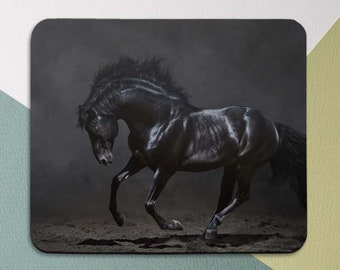 Black Horse Mouse Pad Men Nature Animal Round Mousepad Office Gift Mat Decor Desk Accessories
