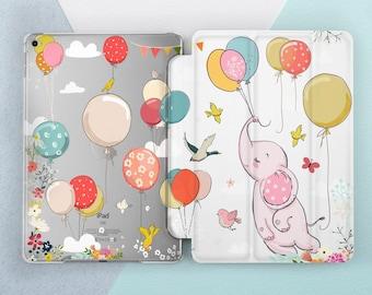 new concept 62351 ab3cb Elephant iPad case Cute Girl Kids Floral iPad 9.7 2018 6th gen Birds  Flowers Animal Sky Balloons iPad Pro 10.5 Pro 12.9 Mini 4 Air 2 Smart