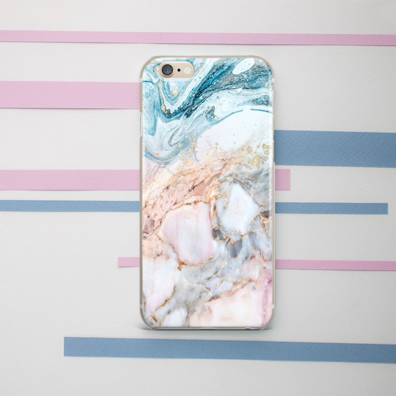 Rose Gold Marble Iphone Case Blue Marble Girly Cute Iphone Xs Etsy