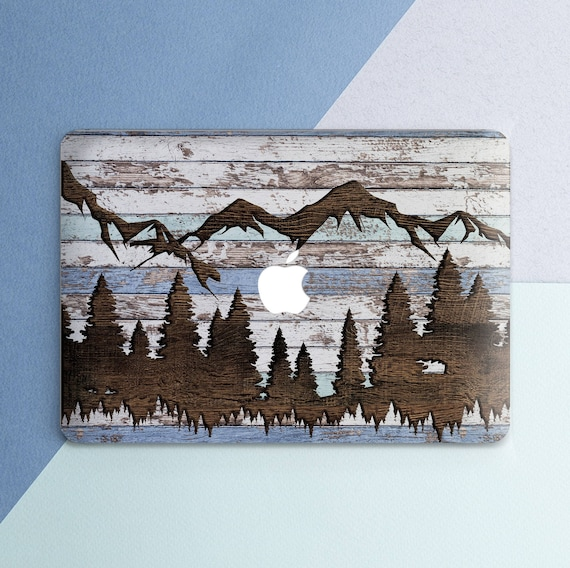 Wood Macbook case Mountains Nature Forest Macbook Pro 13 inch Pro 15 inch  2018 Wooden Trees Rustic Macbook Air 13 Macbook 12 inch Hard case
