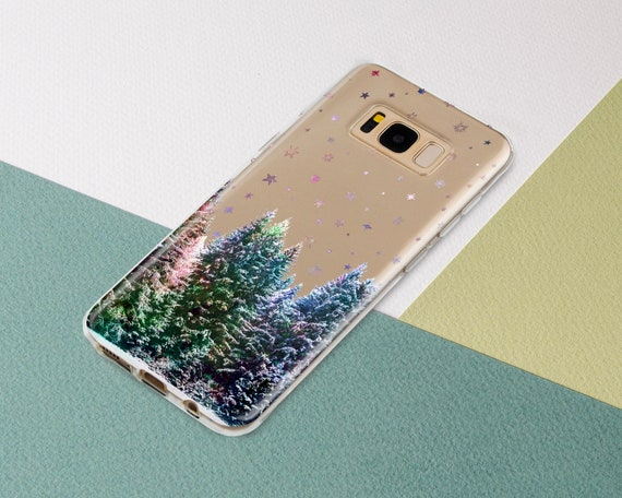 Stars Phone case for Samsung Galaxy s9 s8 s7 s9 Plus s8 Plus Note 9 8 Forest Trees Space Nature Purple Sky Night Samsung s9 s8 s7 Edge s6