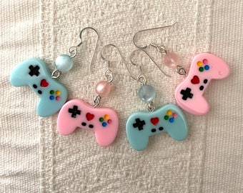 blue pink blue pink - earrings - tiny plastic game controllers - adularescent plastic beads - sterling silver