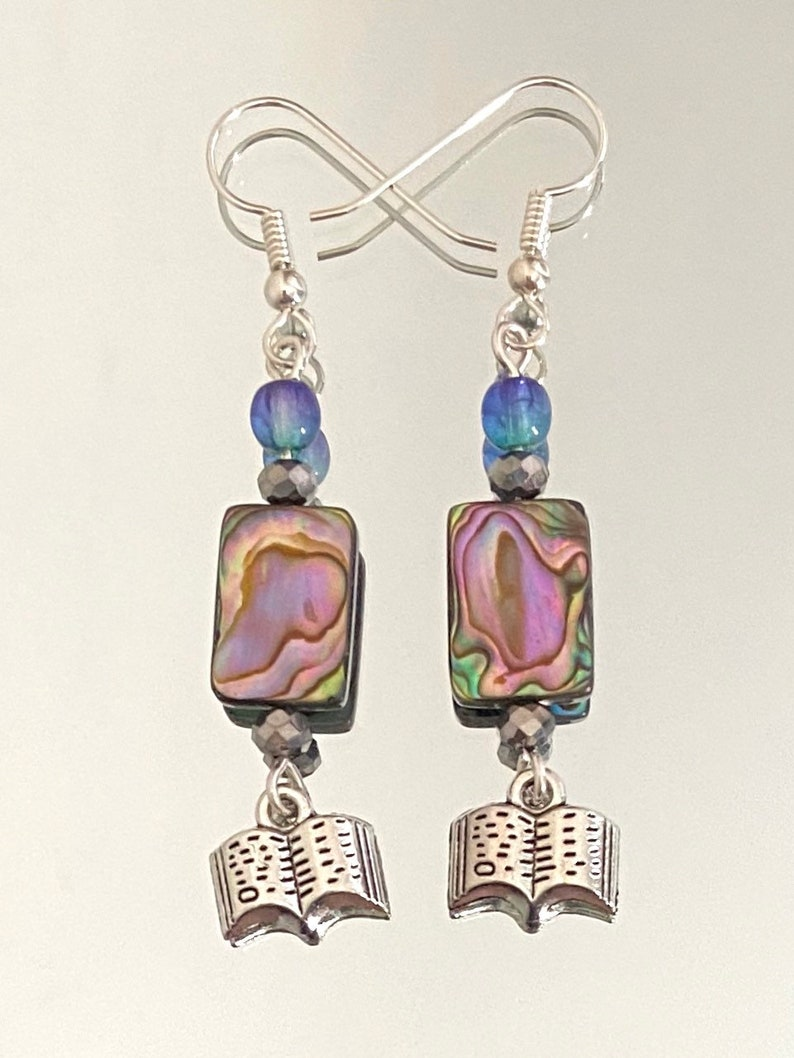sterling silver wires tiny books glass The Text and Its Reflection abalone shell earrings