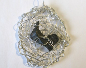 Calling Card - pendant - Canyon Diablo meteorite - sterling silver
