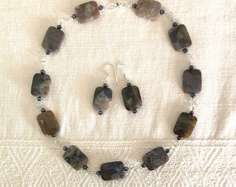 A Scarab's Work Is Never Done - necklace and earrings set - coprolite - sterling silver - glass - fossil