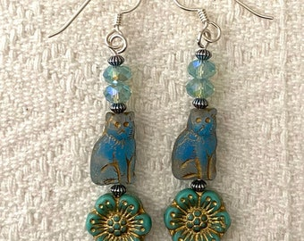 Still Watching Over You - earrings - glass cat beads - glass flowers - sterling silver