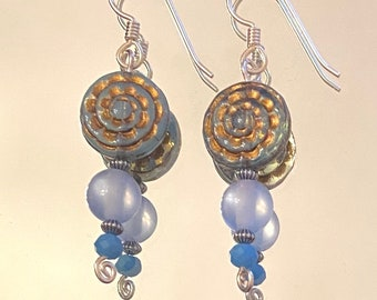 Name Day - earrings - Czech and other glass - resin - sterling silver