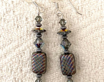 Volcano in Checks and Pinstripes - earrings - Czech pressed glass - Swarovski crystal - sterling silver