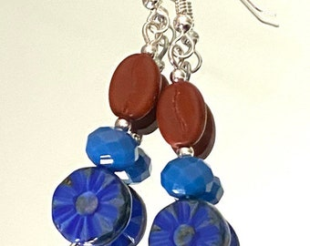 Coffee With a Side of Blues - earrings - glass coffee bean beads - sterling silver