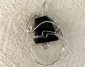 I'm Glad You Exist - pendant - sterling silver wirework - green goldstone glass #6
