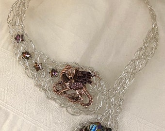 The Gatherer - sculptural wirework necklace - dragon - copper-tone base metal dragon - sterling silver wirework and clasps