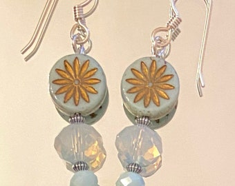 Tell Me Stories About the Sky - earrings - Czech glass - faceted glass rondelles - sterling silver