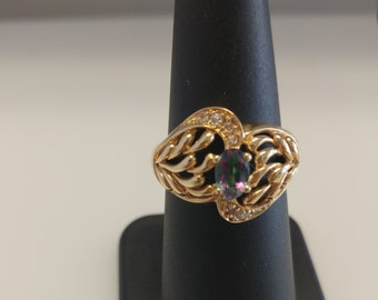 Mystic Topaz Diamond Ring