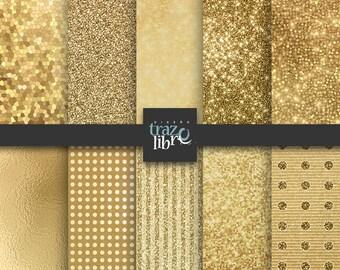 GOLD DIGITAL PAPER: Gold glitter digital paper    Gold foil paper    digital clip art    gold paper   glitter paper