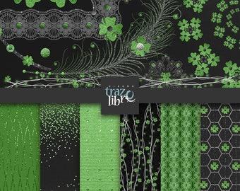 St. Patrick's DIGITAL PAPER: green clip art, St. Patrick's day, digital clipart, scrapbook paper, digital download, black paper, green paper