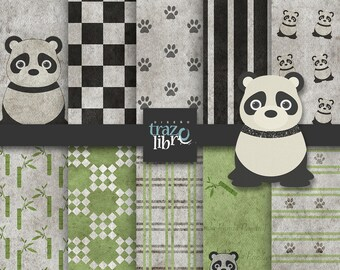 PANDA CLIPART: digital paper, digital clipart, panda, instant download, scrapbook paper, panda clip art, clipart panda, bamboo clipart