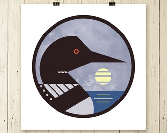 common loon drawing etsy