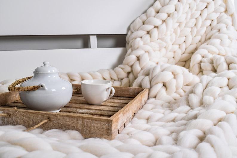 Chunky throw Wool blanket 100 % merino wool  Chunky Knit image 0
