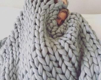 Chunky blanket Merino wool blanket Chunky knit blanket Knit blanket Arm knit blanket Wool blanket Merino throw Home decor Birthday gift