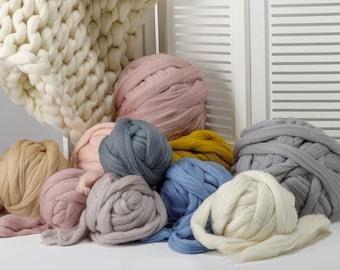 Chunky yarn, Merino wool yarn, Giant yarn, Super chunky yarn, Super Bulky Merino wool, Merino wool, Roving, Wool yarn, Arm knit