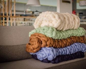 Chunky knit blanket, Chunky blanket, Giant blanket, Big blanket, home decor, Merino blanket, Super chunky blanket, Mother's day present