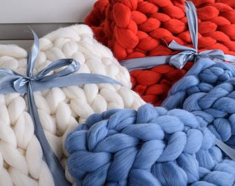 Chunky knit blanket Wool blanket 100 % merino wool Knit blanket Giant Throw super Merino wool Knitted blanket home decor Mother's gift