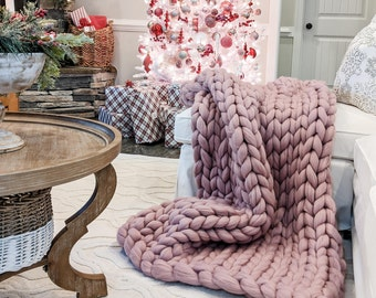 Chunky knit Blanket Merino wool blanket Weighted blanket Giant knit blanket Thick yarn blanket Chunky knit throw Gift for him Black Friday