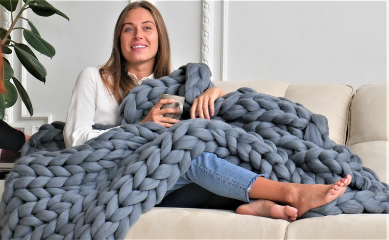 Chunky blanket Chunky knit throw Chunky knit blanket Giant image 1
