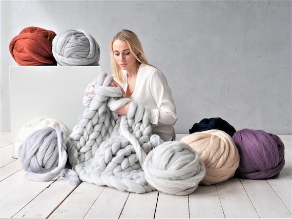Chunky merino yarn  Giant knitting wool Super bulky yarn for arm knitting XL Extreme Knitting merino wool knit yarn  Color SAPHIRE MIX