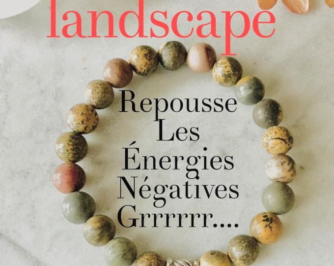 Landscape  bracelet, jewelry bracelet woman landscape, fossil bracelet, corals, earth color, silver, gift, mala, yoga, meditation, litho