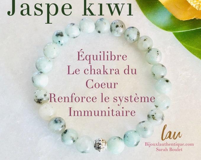 Jaspe kiwi Mala Calcite, yellow, citrine, aventurine, Howlite, japse fancy japse green chakra