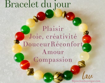 Agate orange stone bracelet, Mala, beaded bracelet, hand made, new moon, plexus, bijouxlauthentique benefits stone