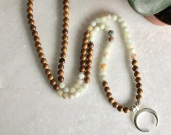 Mini necklace mala 108 ball 6mm for woman, pendant silver moon horn necklace, Mala necklace, meditation necklace, mantra