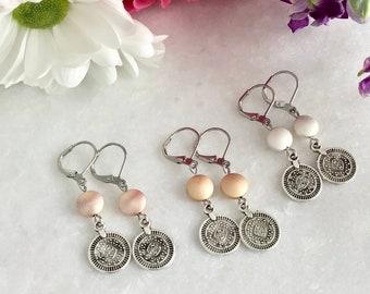 earring rose gold hematite, white agat mala bracelet stones bracelet stones bracelet, meditation bracelet, mala