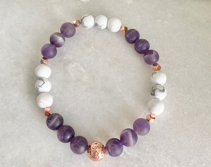 10 Hide French Bracelet soothing anxiety, anxiety, and fear, rose quartz, amethyst, howlite, and woman gift