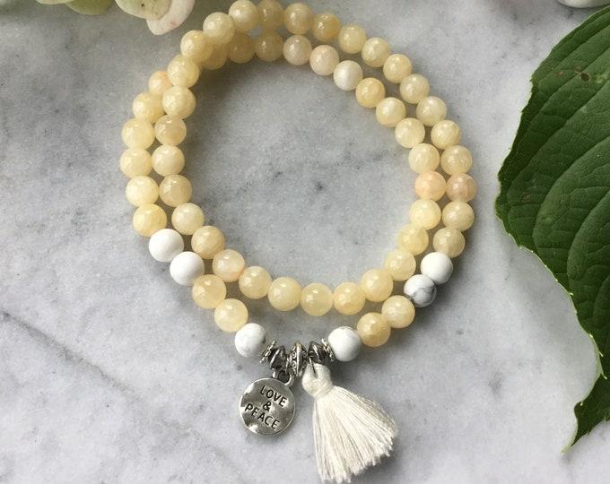 Yellow calcite, white pom poms, fall 2018 women bracelet, pastel jewelry, stones, rose quartz bracelets, Howlite, wood, gifts for her,