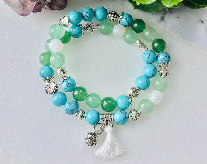 Bracelet turquoise jade green and aventurine agate matcha Mala meditation yoga, hippies, bohemian, peace joix love, gift, ansiversary