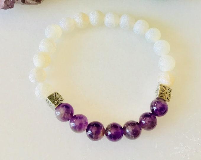 Amethyst bracelets and howlite stones, amethyst jewelry mala quartz meditation bracelet, girl bracelet, women bracelet, Etsy jewelry