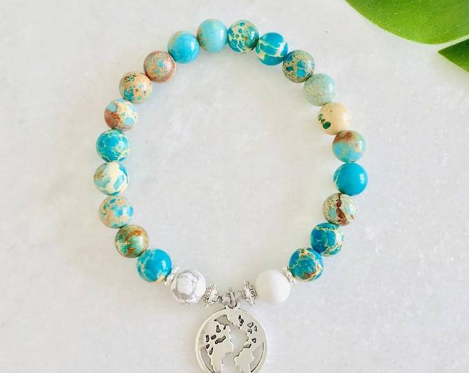 French Hide Turquoise Bracelet, Woman Girl Gift, Mala Meditation Yoga, Hippies, Bohemian, Peace Love Jacket, Gift, Aniversary