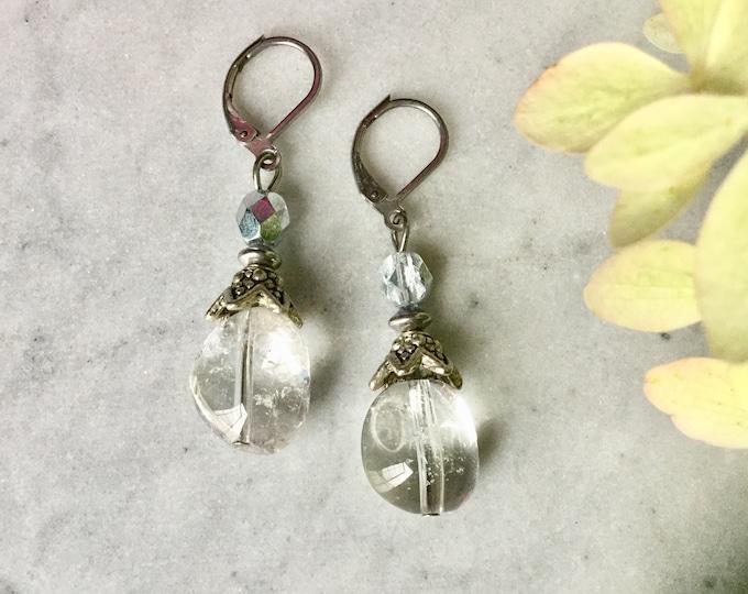 Quartz, rose Quartz, drop earring, cristal,